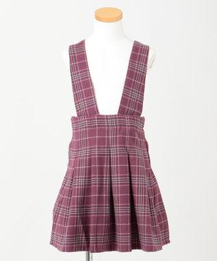 any FAM KIDS 【100-130cm】チェック ジャンパースカート ローズ系