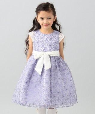 any FAM KIDS 【110-130cm】オーガンジー花柄刺繍 ドレス ふじ色系
