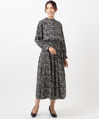 any FAM L 【洗える】小紋&レトロフラワープリント ワンピース ブラック系5