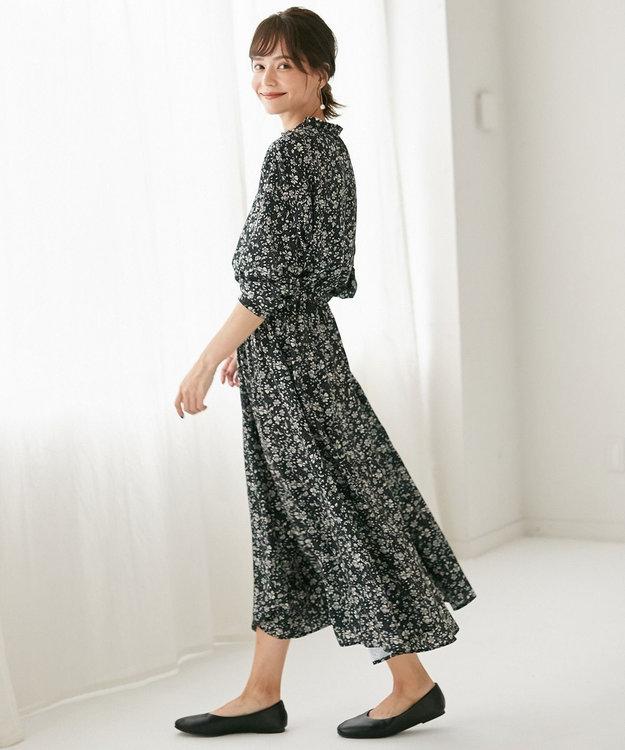 any FAM L 【洗える】小紋&レトロフラワープリント ワンピース