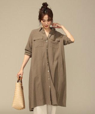 any FAM L 【洗える】シルキーリネン ワンピース モカ