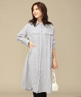 any FAM L 【洗える】シルキーリネン ワンピース ストライプ