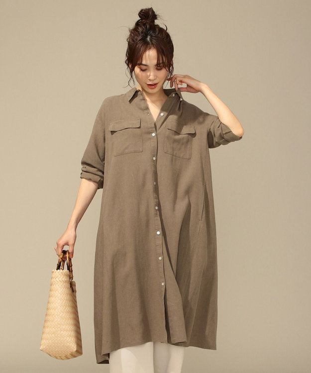 any FAM L 【洗える】シルキーリネン ワンピース