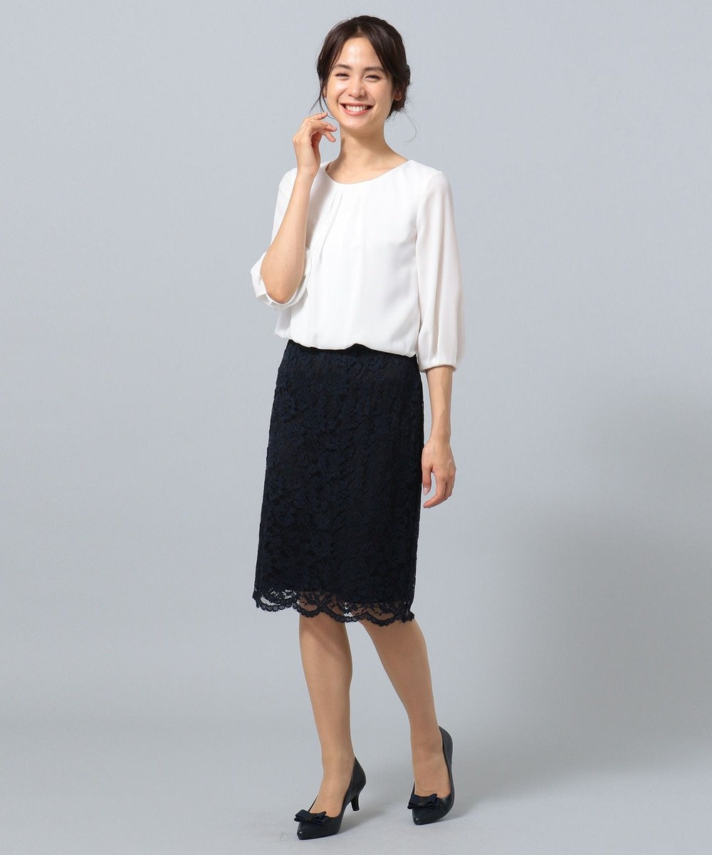any FAM 【セレモニー】レース&シフォン ワンピース ネイビー系