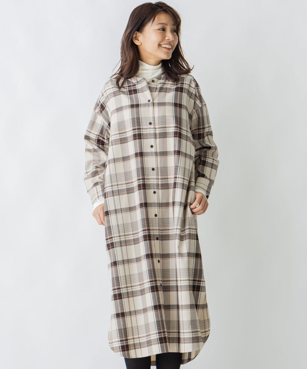 any FAM L 【親子でおそろい】ソフトツイルチェック ロングシャツ ベージュ系5