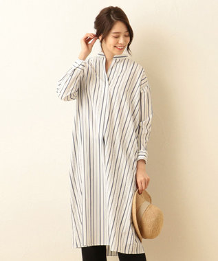any FAM ハイカウントブロード シャツワンピース ブルー系1
