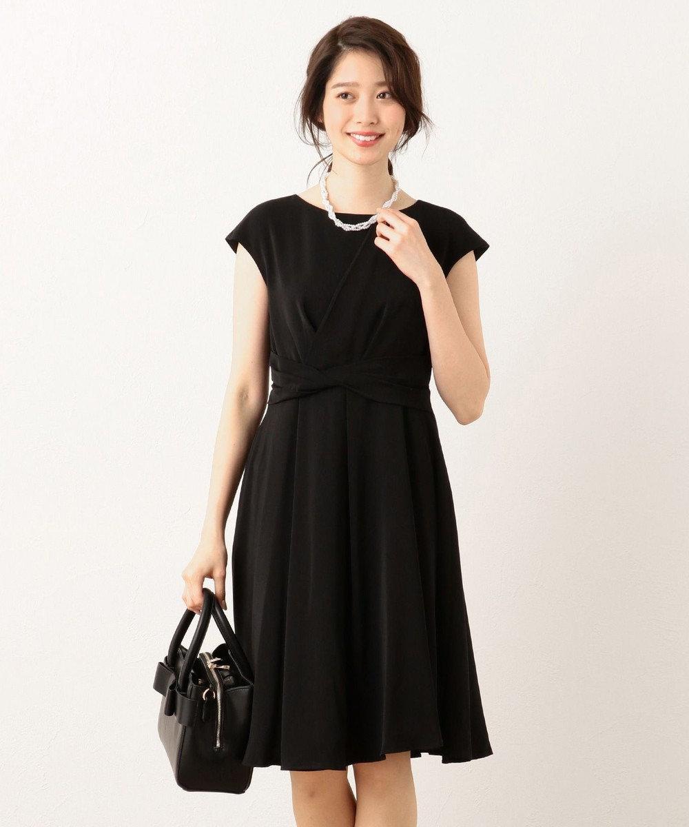 any FAM L 【セレモニーやパーティにも】アシンメトリータック ドレス ブラック系