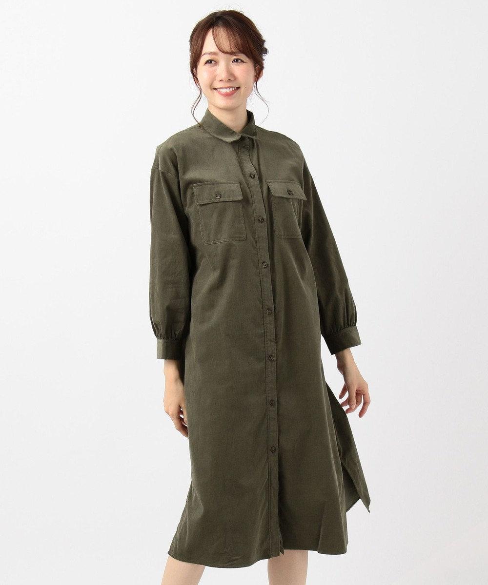any FAM 【洗える】ソフトシャツコール シャツワンピース カーキ系