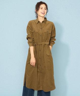 any FAM 【洗える】ソフトシャツコール シャツワンピース ブラウン系
