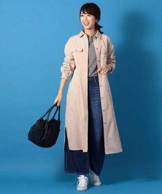 any FAM 【洗える】ソフトシャツコール シャツワンピース ベージュ系