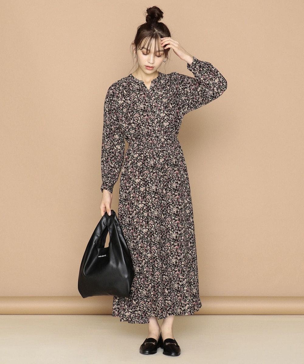 any FAM 【洗える】【親子でおそろい】クラシックプリント ワンピース ネイビー系3