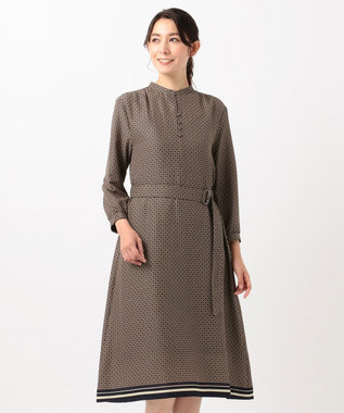 J.PRESS LADIES 【洗える】ジオメトリックプリント ワンピース ネイビー系5