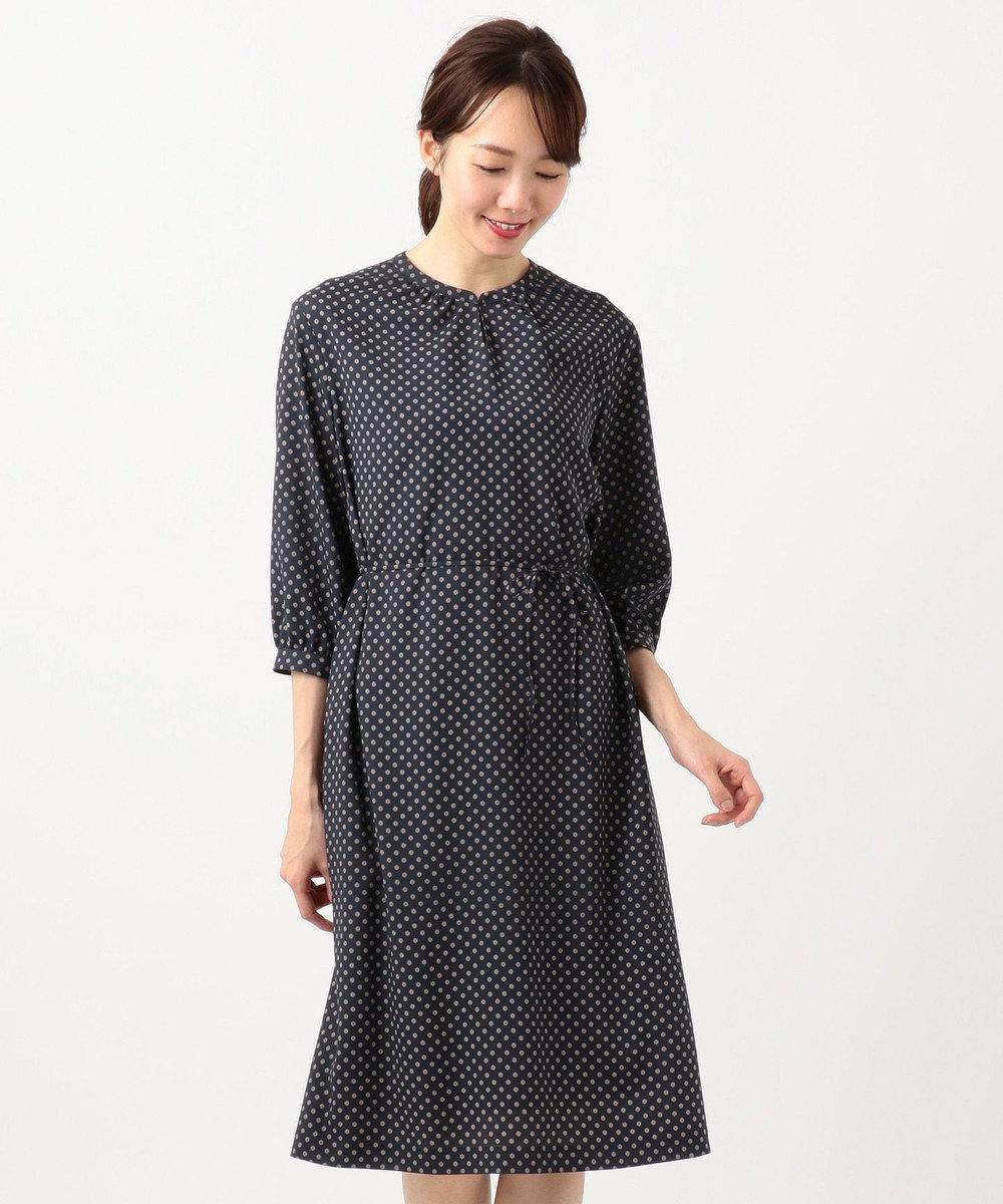 J.PRESS LADIES 【洗える】アンティークデシン小紋プリント ワンピース ネイビー系5