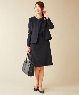 J.PRESS LADIES L 【セットアップ対応】ファンシーツイード ワンピース ネイビー系