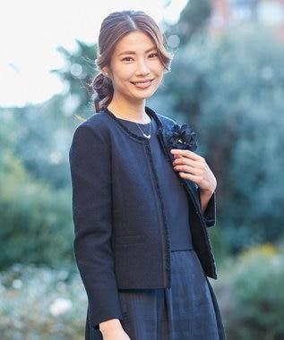 J.PRESS LADIES L 【洗える】ブロッキング ワンピース ネイビー系
