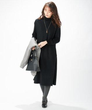 J.PRESS LADIES S 【洗える】ニットコンビジャージー ワンピース ブラック系