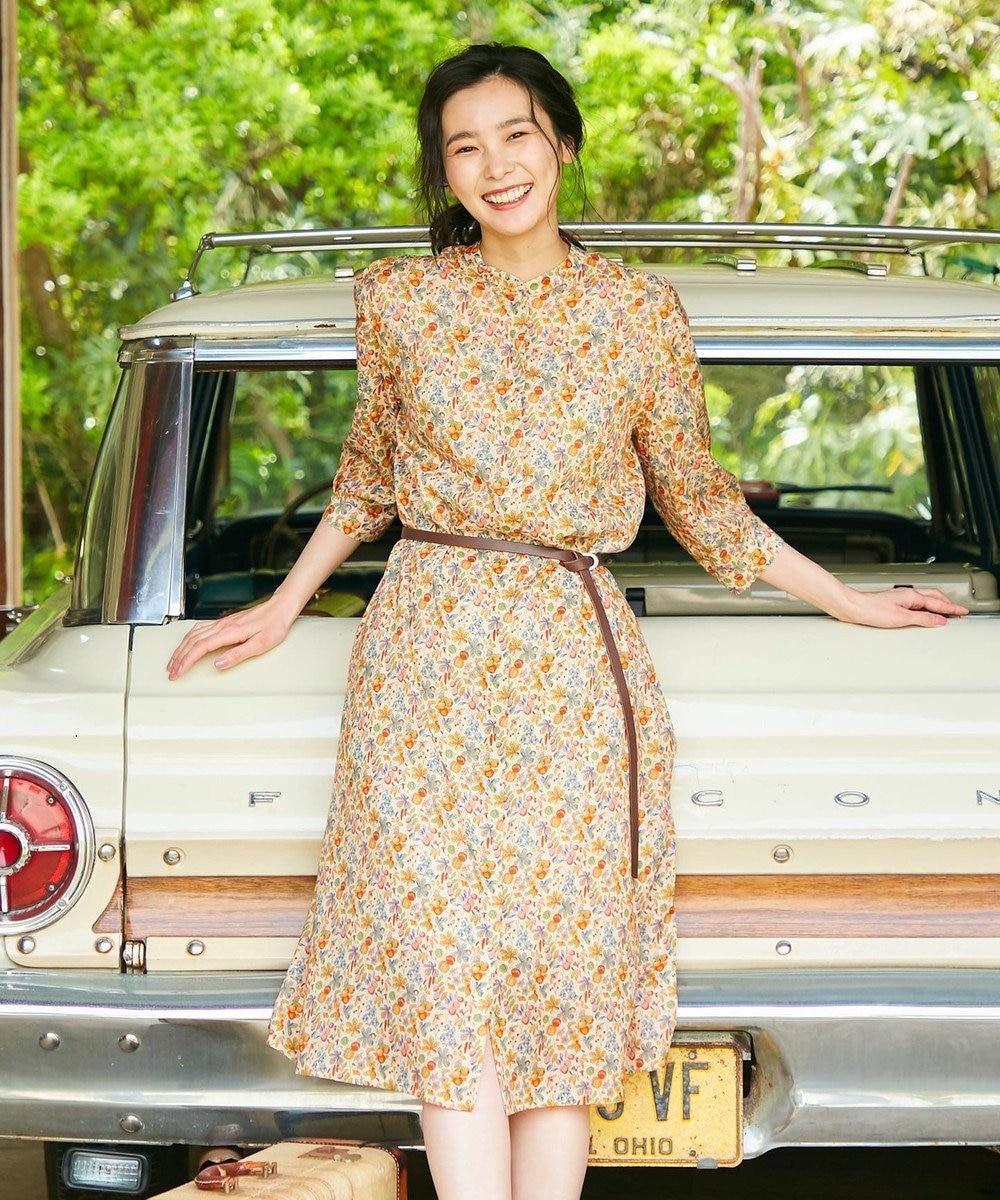 J.PRESS LADIES L 【洗える】LIBERTY CHESTNUTS プリント ワンピース ライトオレンジ系5