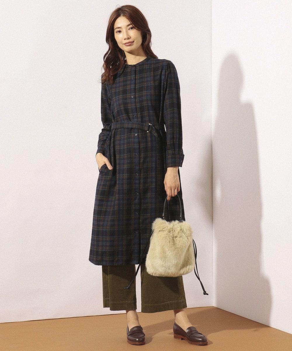 J.PRESS LADIES 【洗える】コットンリヨセルブラッシュチェック ワンピース ネイビー系4