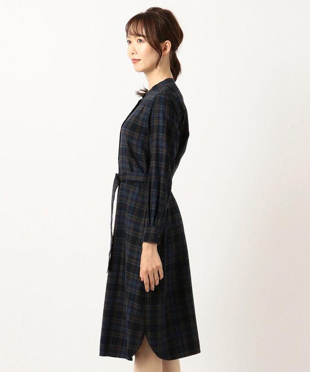 J.PRESS LADIES 【洗える】コットンリヨセルブラッシュチェック ワンピース