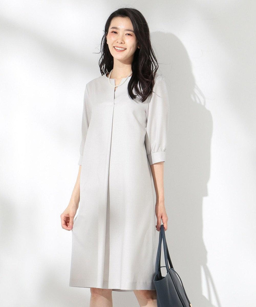 J.PRESS LADIES 【洗える】OXIJEWEL ワンピース ライトグレー系