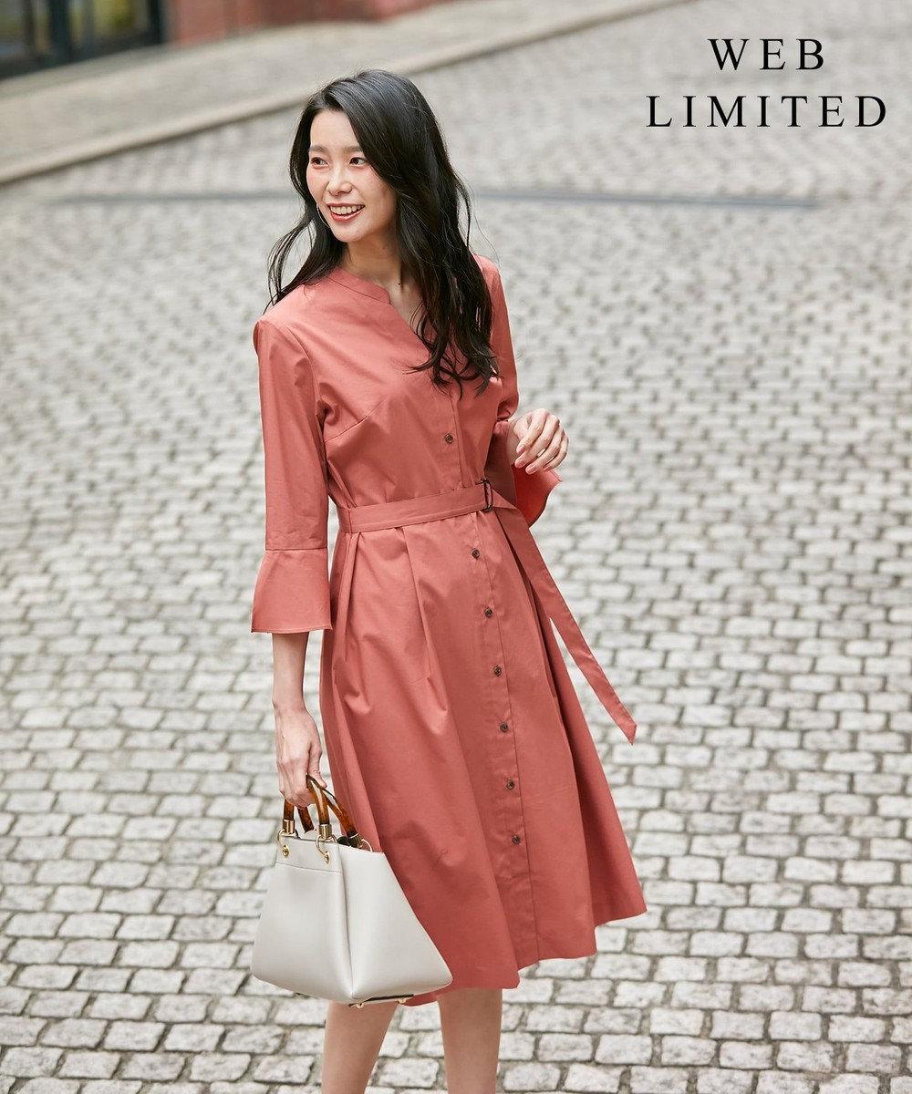 J.PRESS LADIES L 【WEB限定】洗えるカラー シャツワンピース [WEB限定]ピンク系