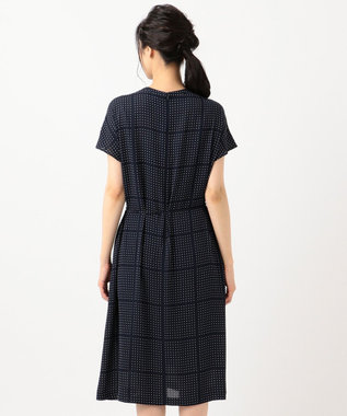 J.PRESS LADIES 【洗える】BLOCK DOTS プリント ワンピース ネイビー系5