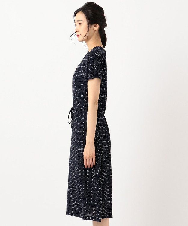 J.PRESS LADIES 【洗える】BLOCK DOTS プリント ワンピース