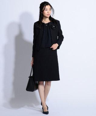 J.PRESS LADIES S 【セットアップ対応】ファンシーツイード ワンピース ネイビー系1