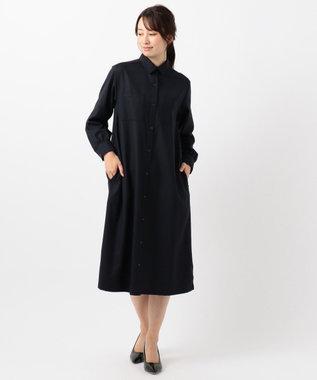 J.PRESS LADIES 【シワになりづらい】サキソニーストレッチ ワンピース ネイビー系