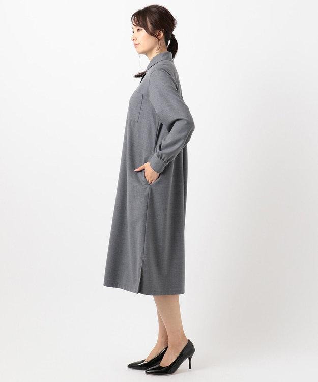 J.PRESS LADIES 【シワになりづらい】サキソニーストレッチ ワンピース
