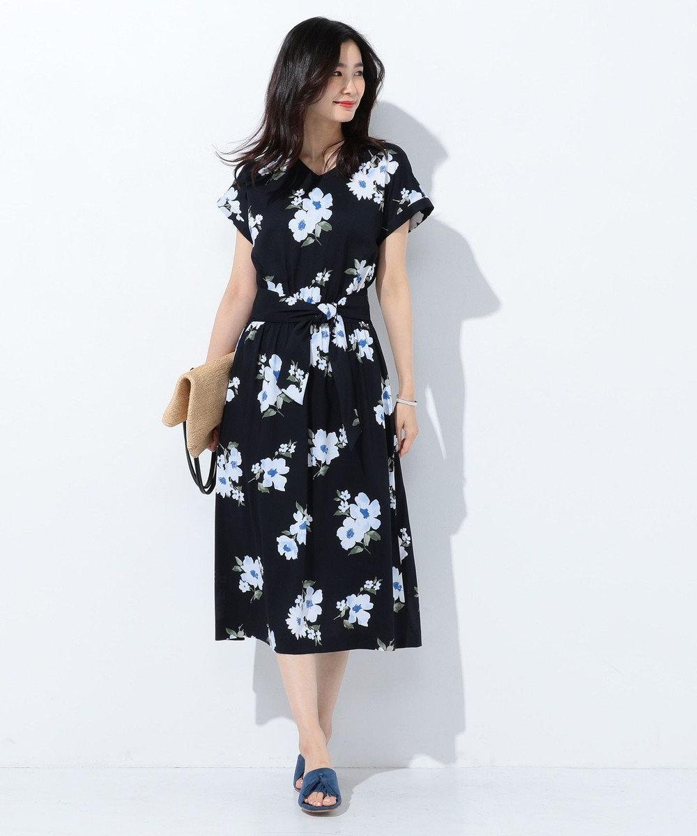 J.PRESS LADIES S 【洗える】Vintage Floral Print ワンピース ネイビー系6