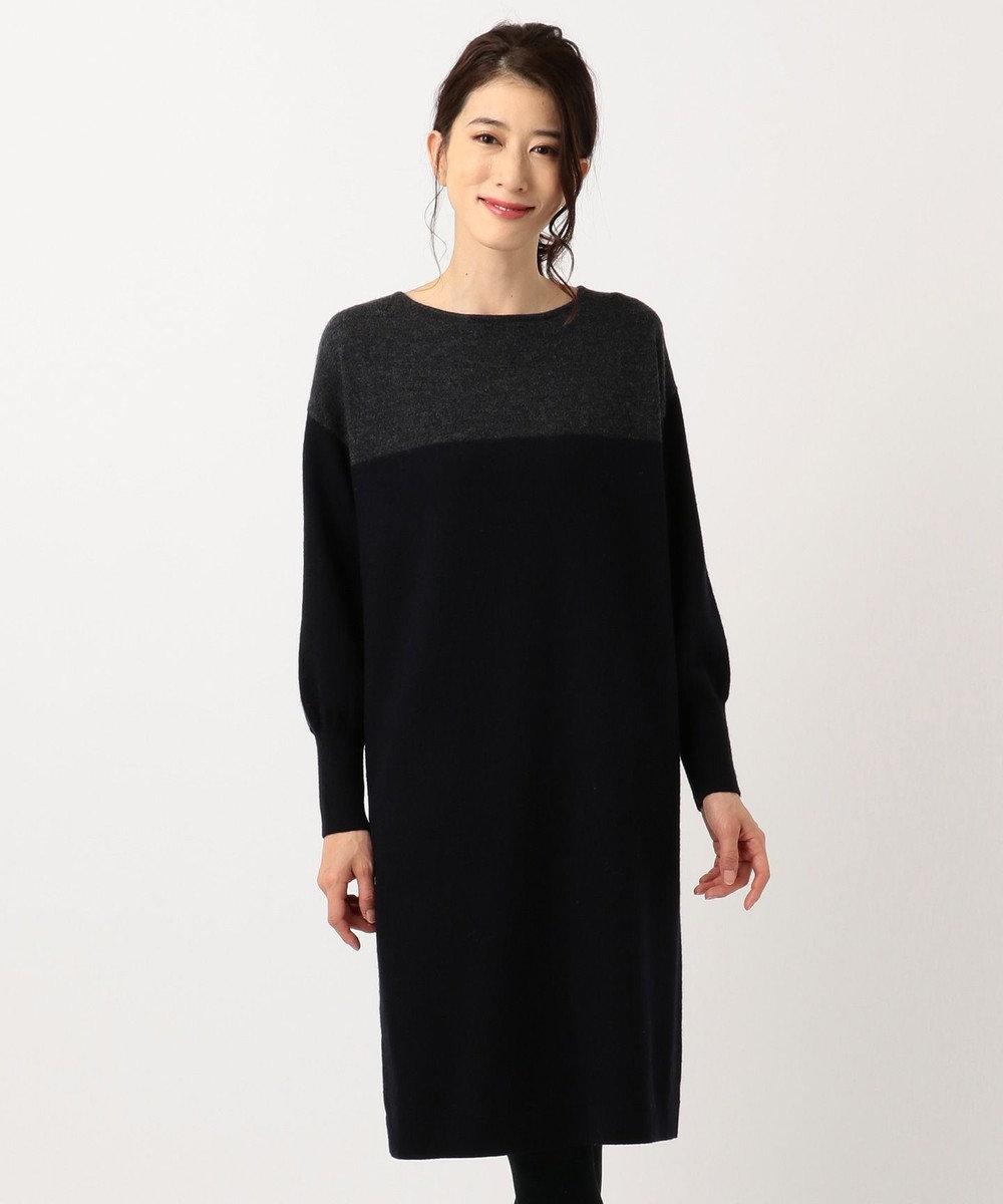 J.PRESS LADIES L 縮じゅう ニットワンピース ネイビー系