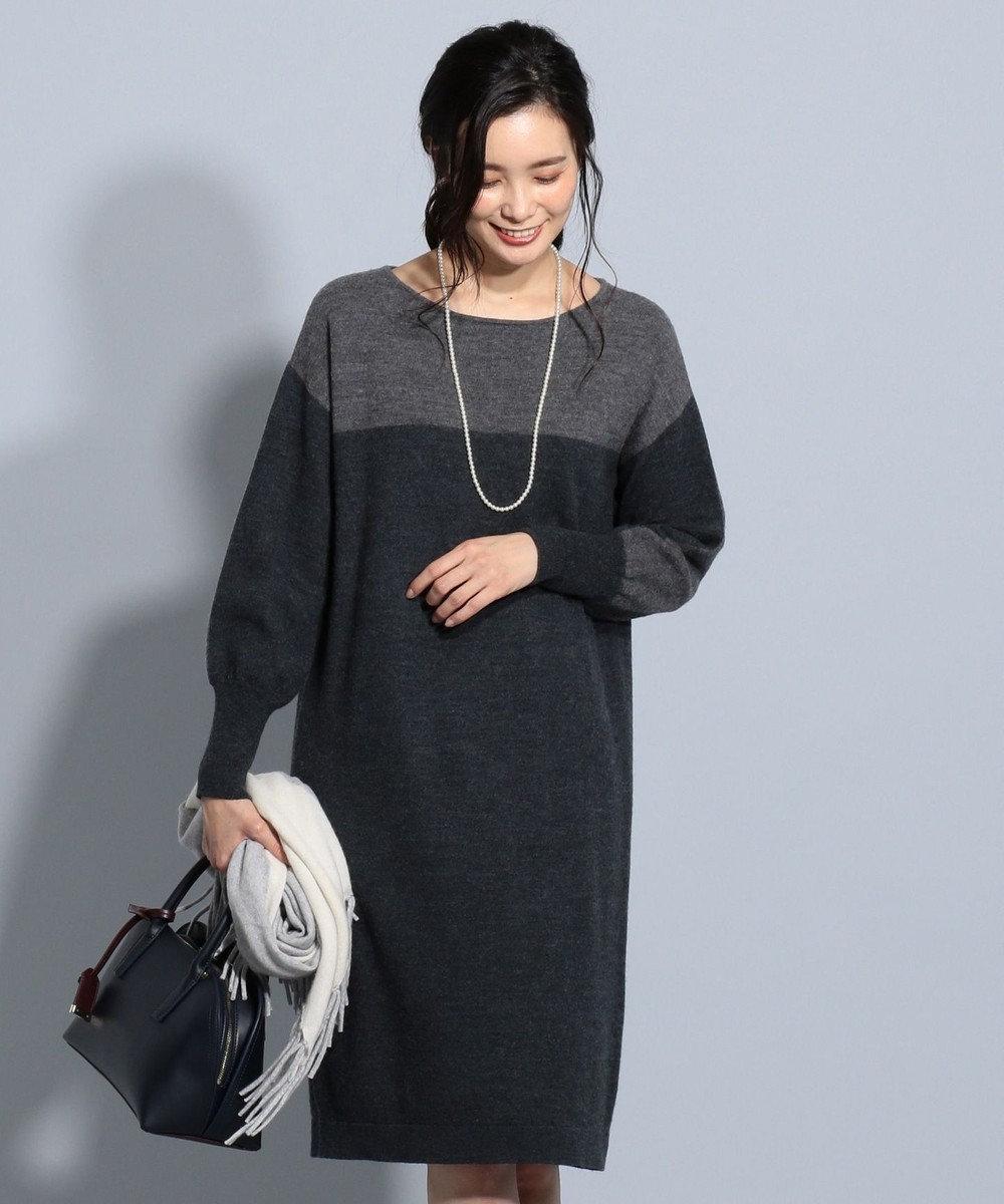 J.PRESS LADIES S 縮じゅう ニットワンピース グレー系