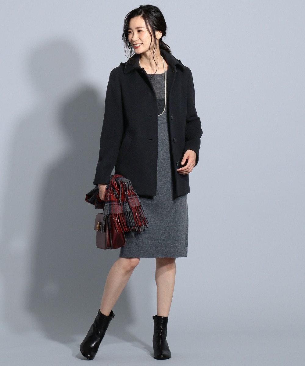 J.PRESS LADIES L 縮じゅう ニットワンピース グレー系