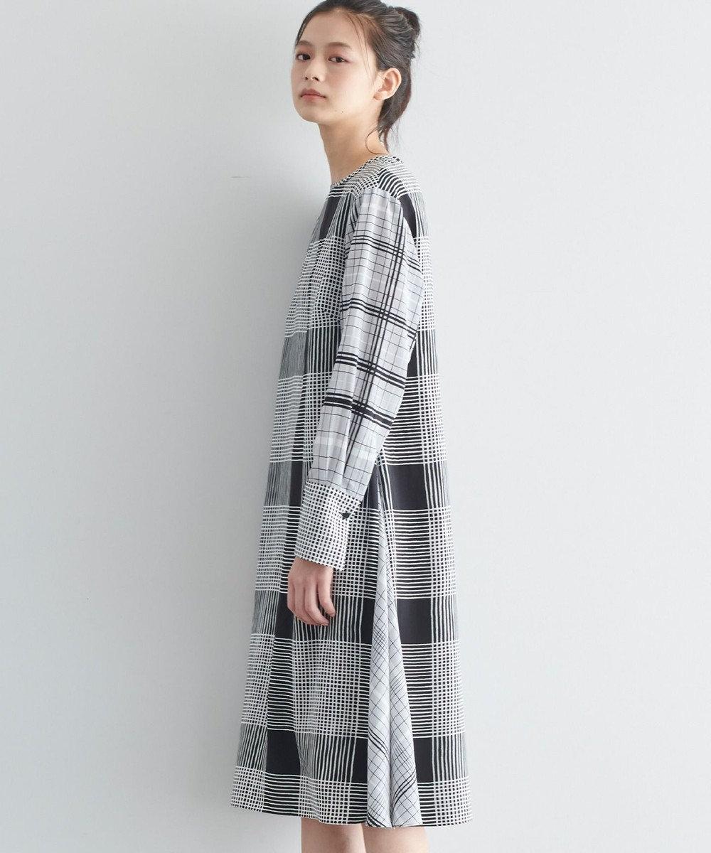 JOSEPH 【JOSEPH STUDIO・洗える】チェックパッチプリント ドレス ブラック系3