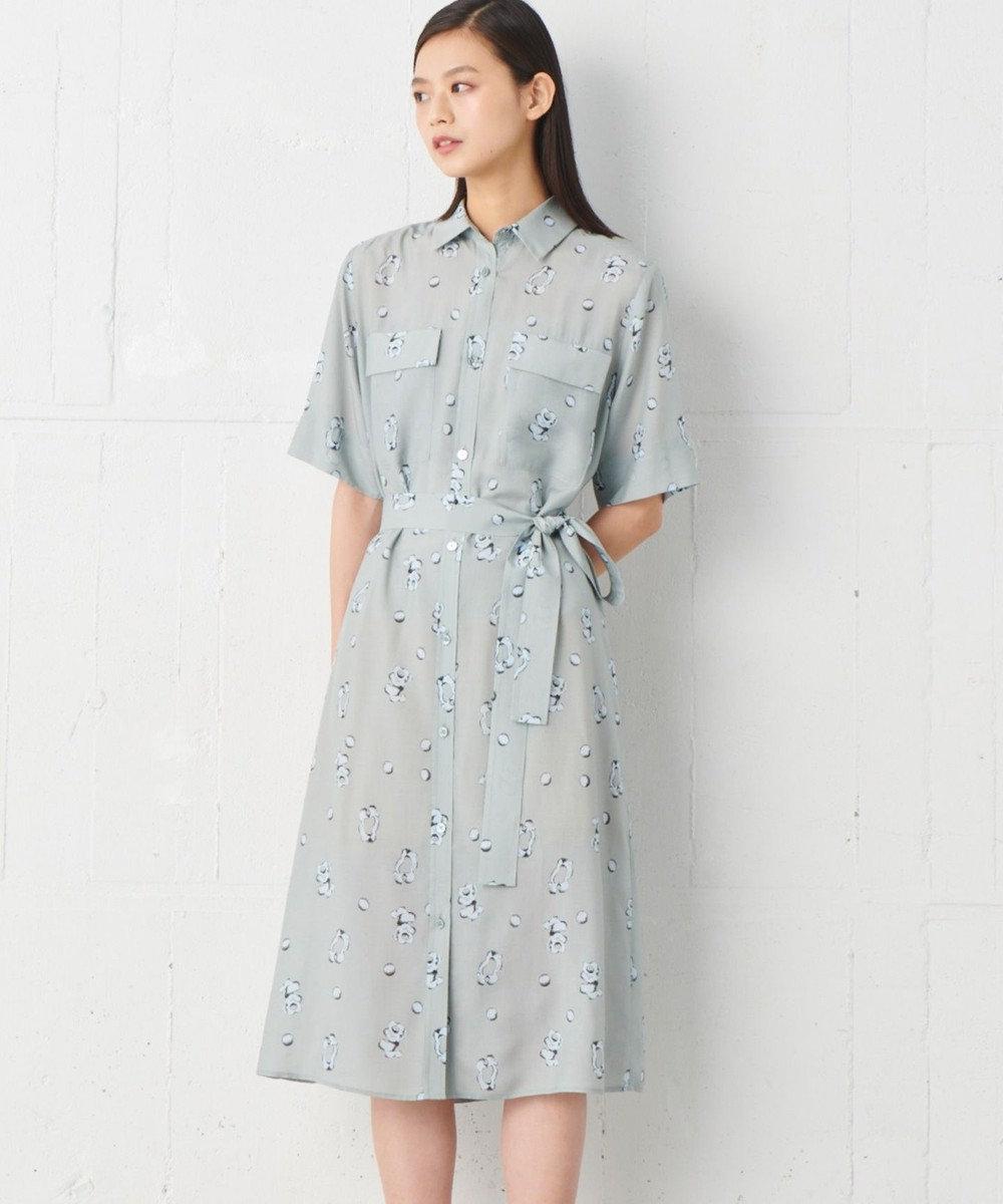 JOSEPH STUDIO 【洗える】キュビズムプリント シャツドレス ダルブルー系5