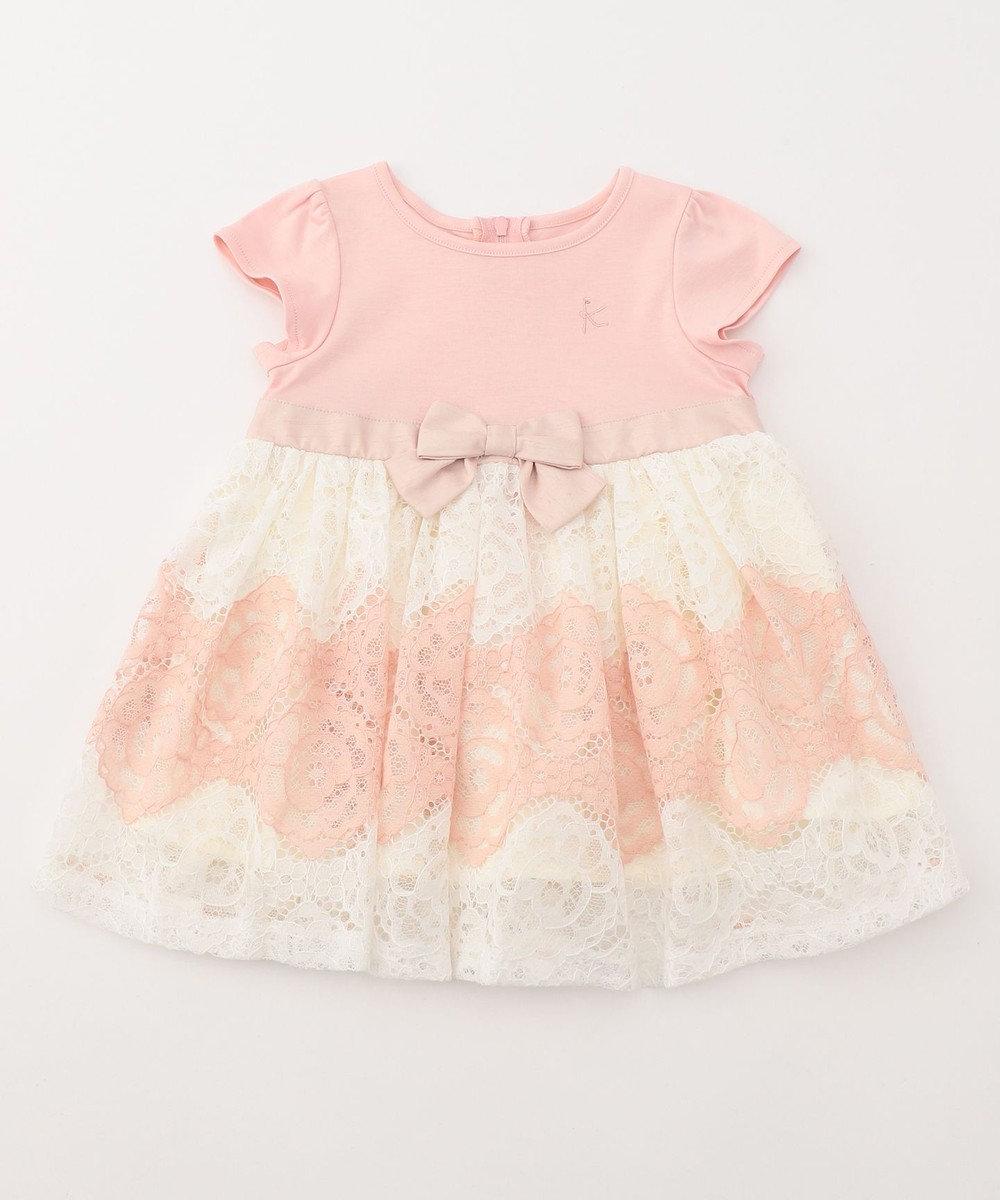 組曲 KIDS 【BABY】60/-スムース×レースボーダー ワンピース ピンク系