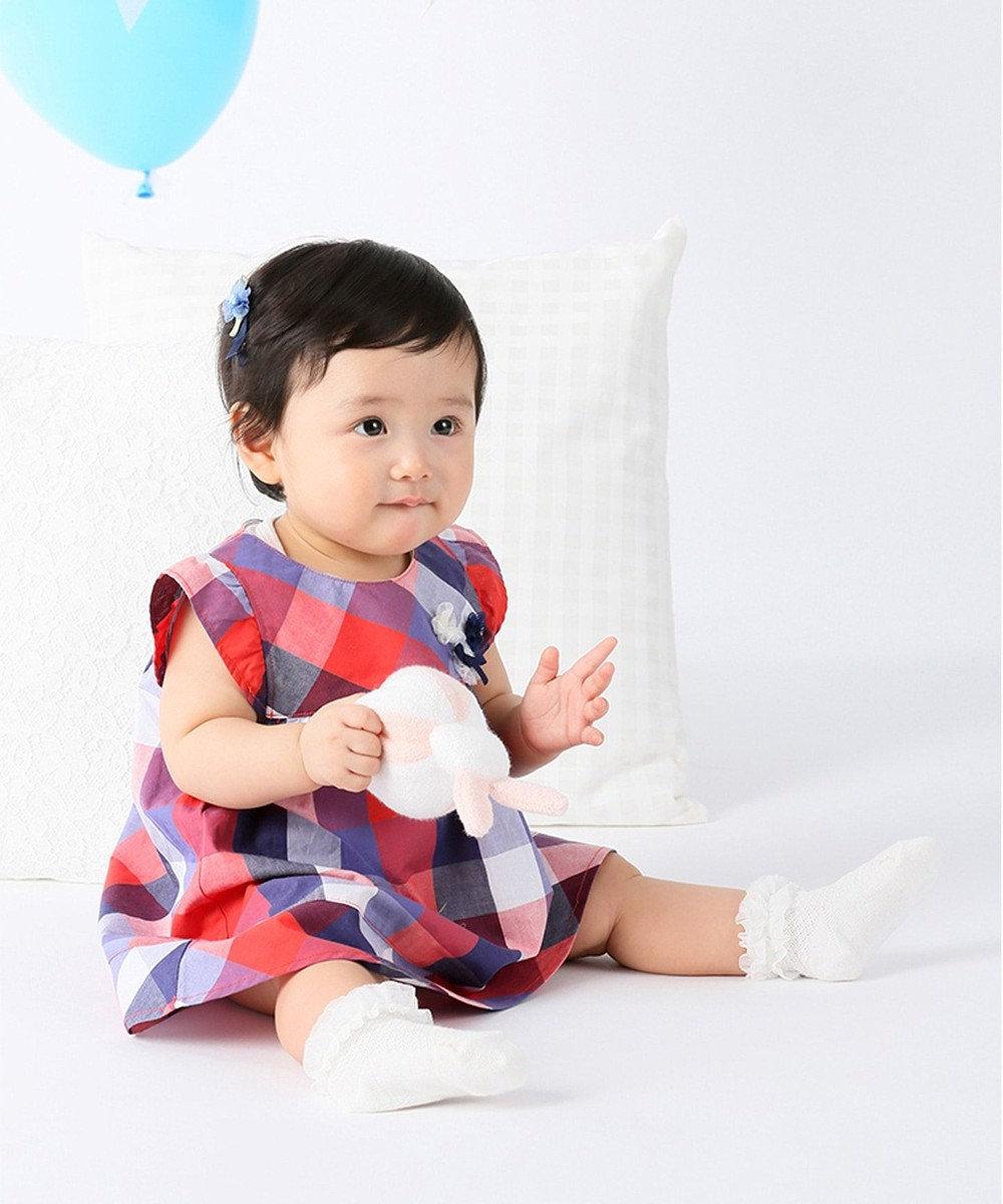 組曲 KIDS 【BABY】マリンブロックチェック ワンピース レッド系3