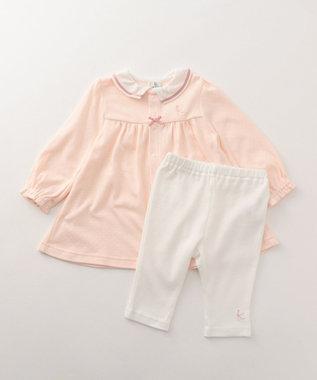 組曲 KIDS 【BABY】40/-スムースドット 長袖ワンピース ピンク系5