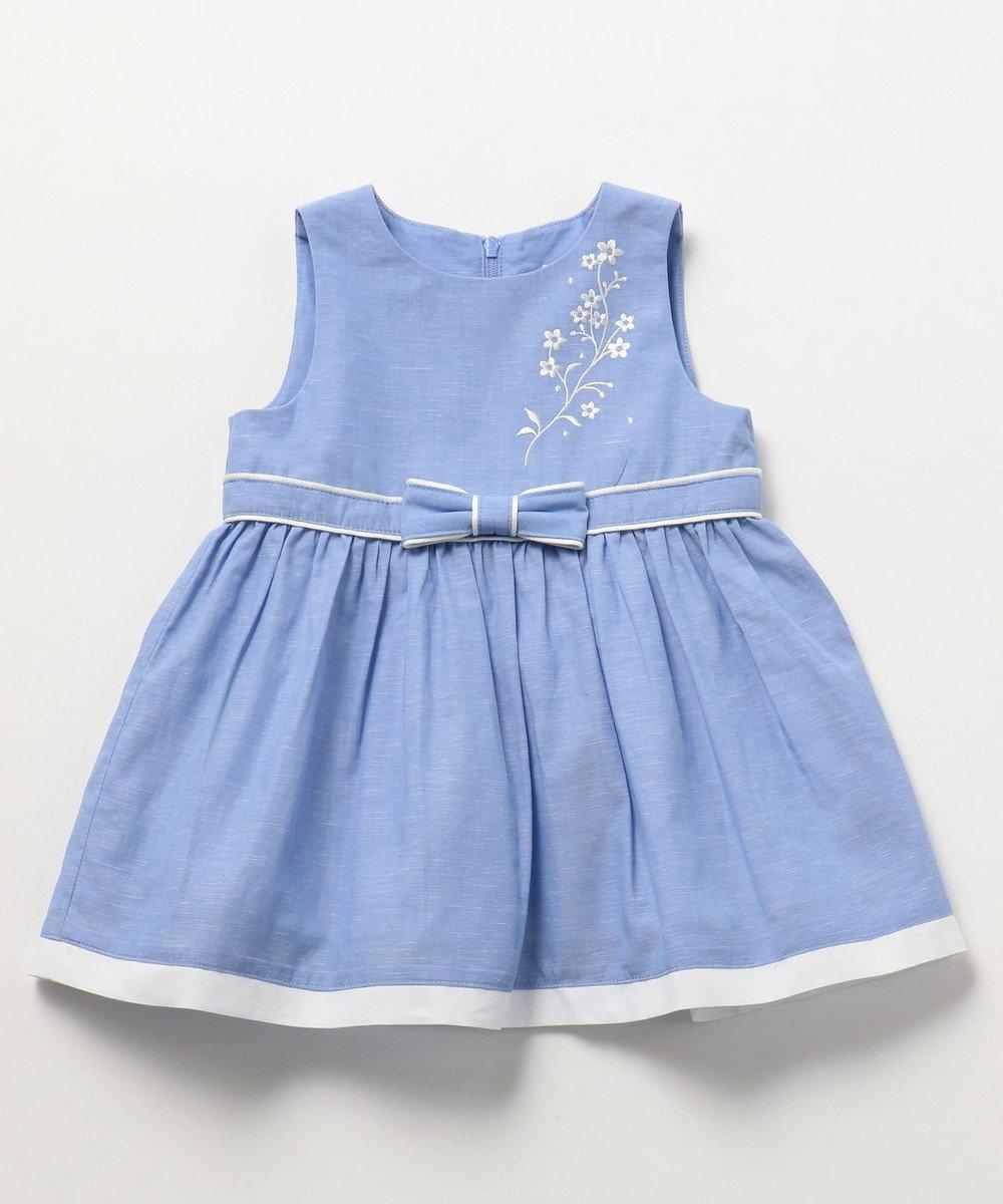 組曲 KIDS 【BABY】フルールブロドリーシャンブレー ワンピース サックスブルー系