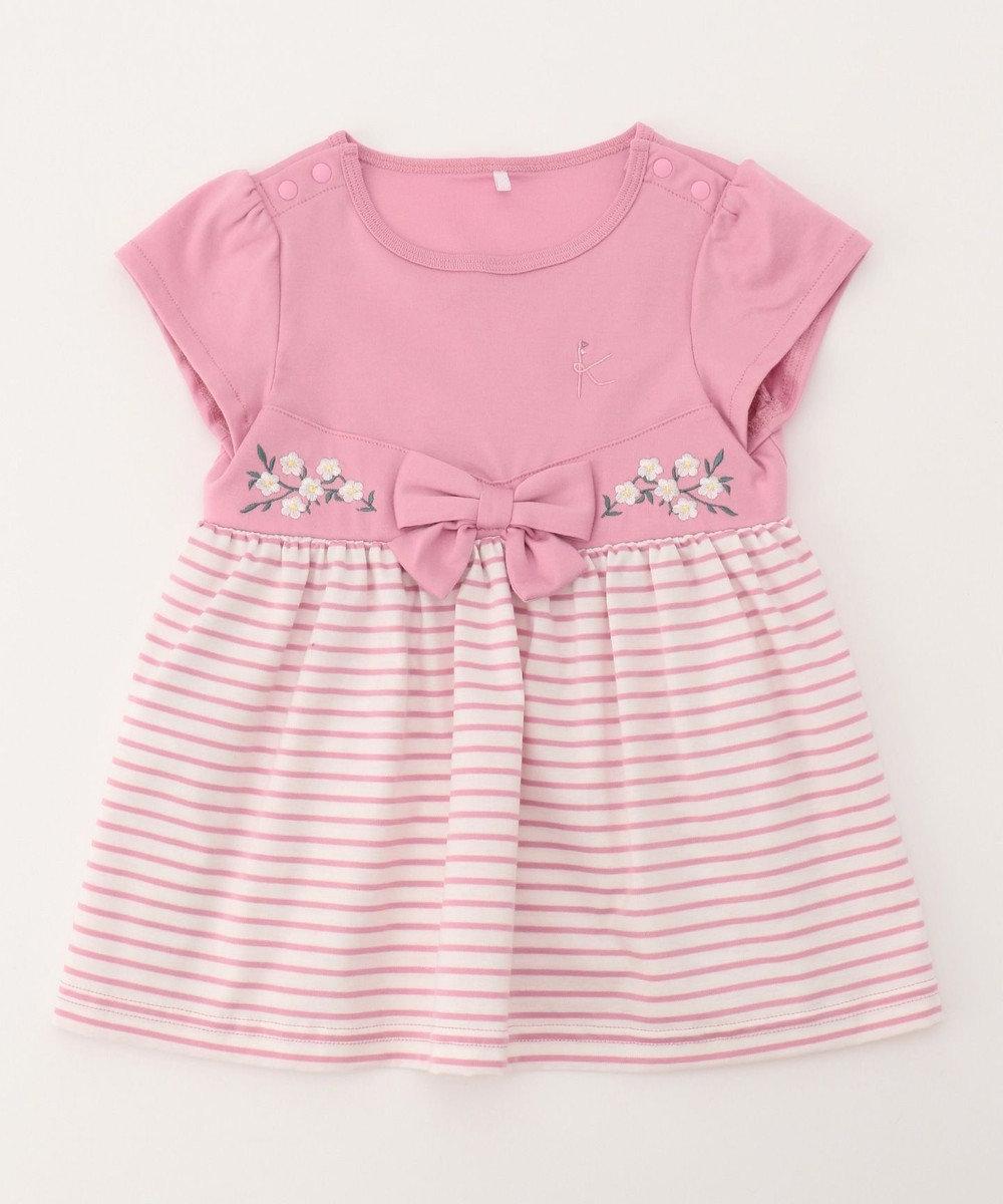 組曲 KIDS 【BABY】フルールブロドリーボーダー ワンピース ピンク系1