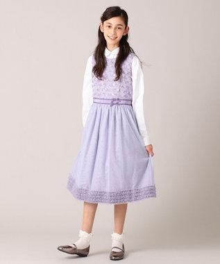組曲 KIDS 【150-160cm】ボーダーレースドレス ワンピース ラベンダー系7