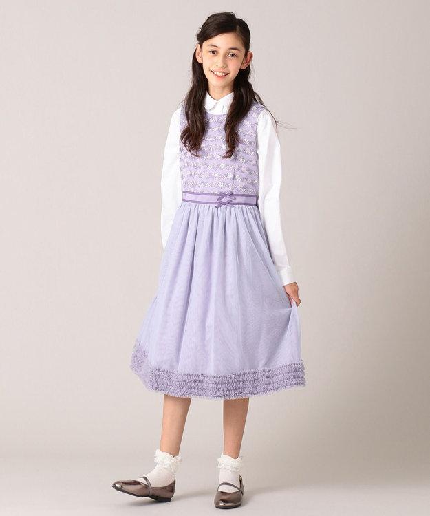 組曲 KIDS 【150-160cm】ボーダーレースドレス ワンピース