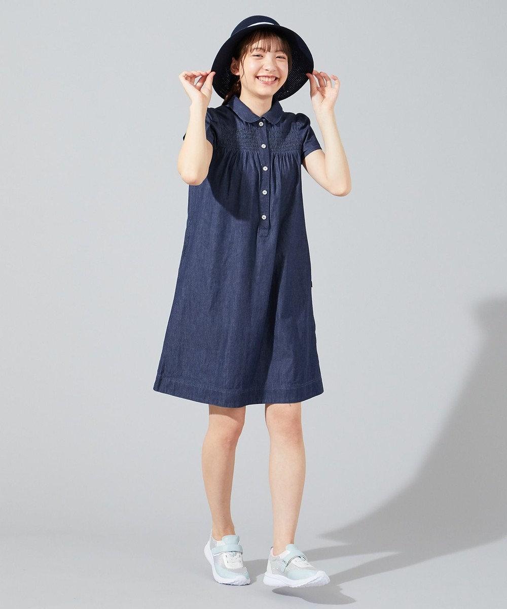 組曲 KIDS 【150-160cm】シャーリングブリーチデニムワンピース ネイビー系