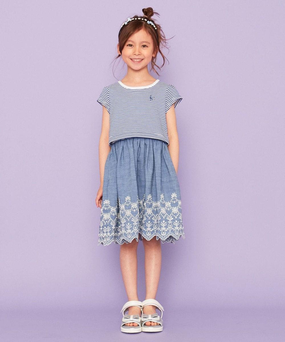 組曲 KIDS 【150-160cm】ボーダー×シャンブレー刺繍 ワンピース ブルー系1