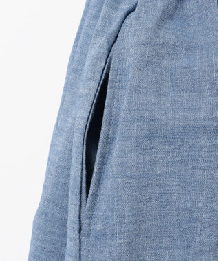 組曲 KIDS 【150-160cm】ボーダー×シャンブレー刺繍 ワンピース ラベンダー系1