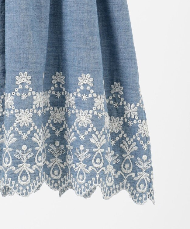 組曲 KIDS 【150-160cm】ボーダー×シャンブレー刺繍 ワンピース