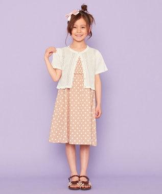 組曲 KIDS 【150-160cm】リネンライクドットプリント ワンピース ピンク系5