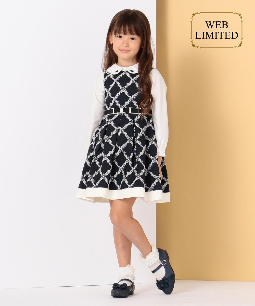 【WEB・一部店舗限定カラー有/110-140cm】ダイヤフラワー刺繍 ワンピース