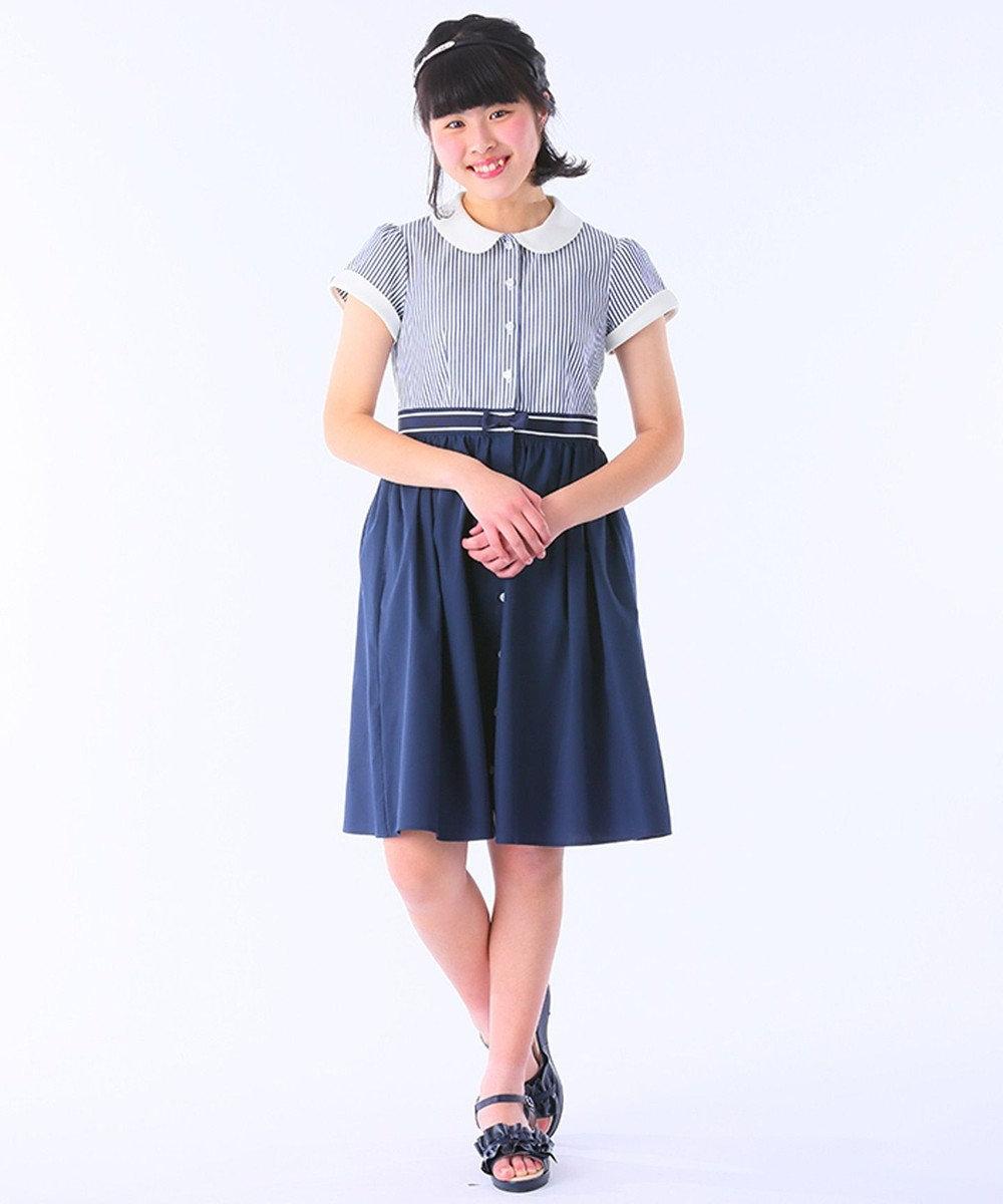 組曲 KIDS 【110~140cm】ストライプシャツ ワンピース ネイビー系1